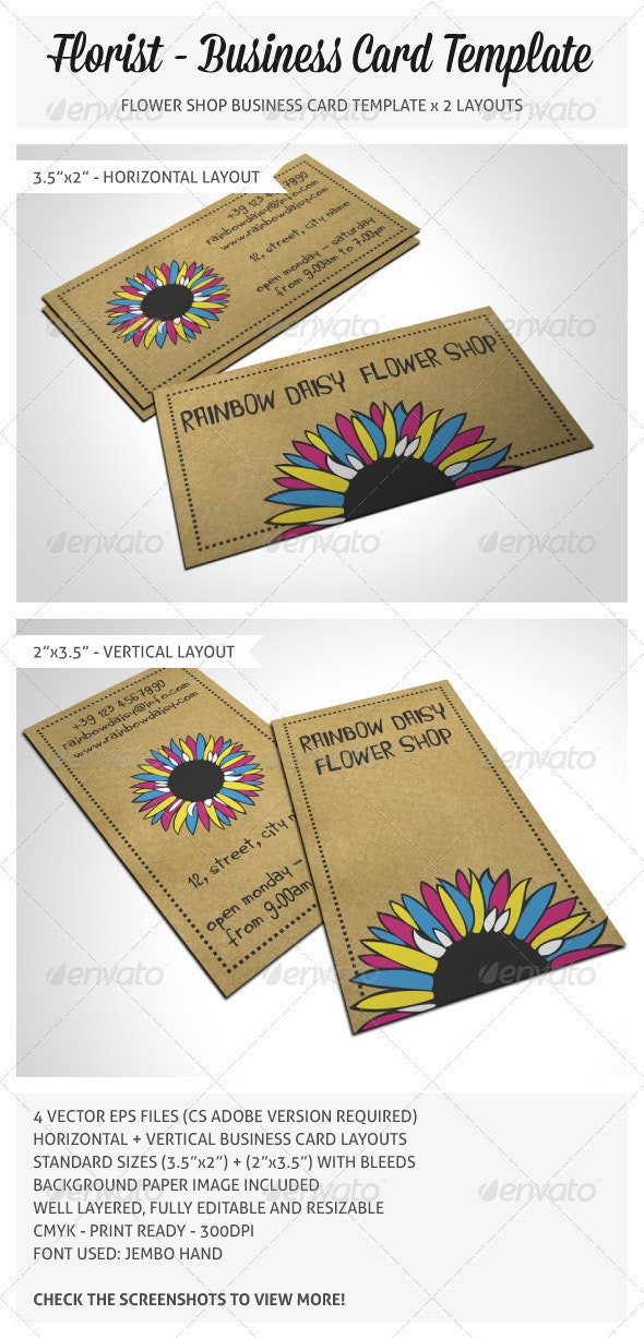 Flower Shop Business Card - Industry Specific Business Cards