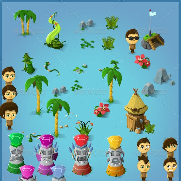 Tropical Item Pack (45+ Items and 1 Male Char)