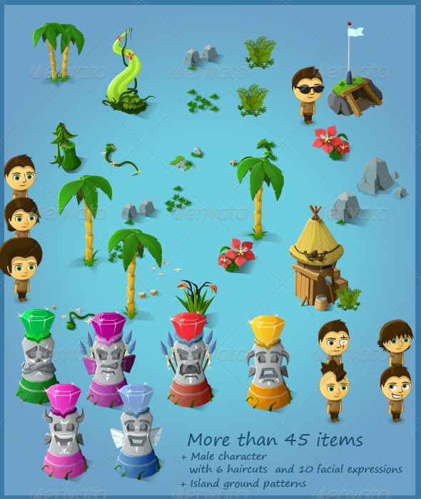 Tropical Item Pack (45+ Items and 1 Male Char) - Objects Vectors
