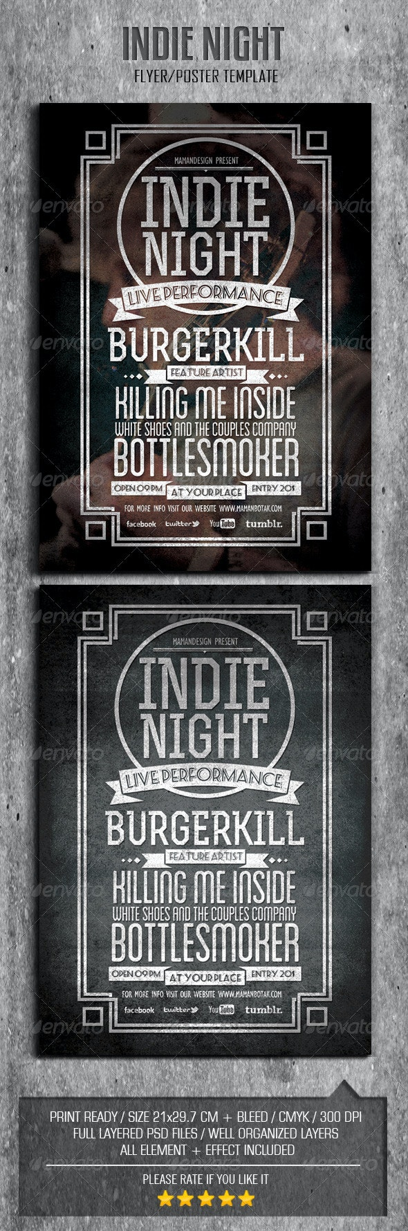 Indie Typography Flyer/Poster Vol.2 - Concerts Events