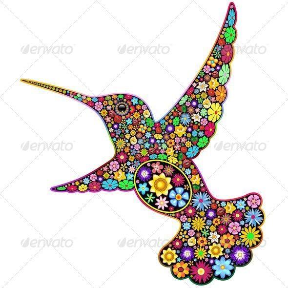 Hummingbird Floral Ornamental Art Design