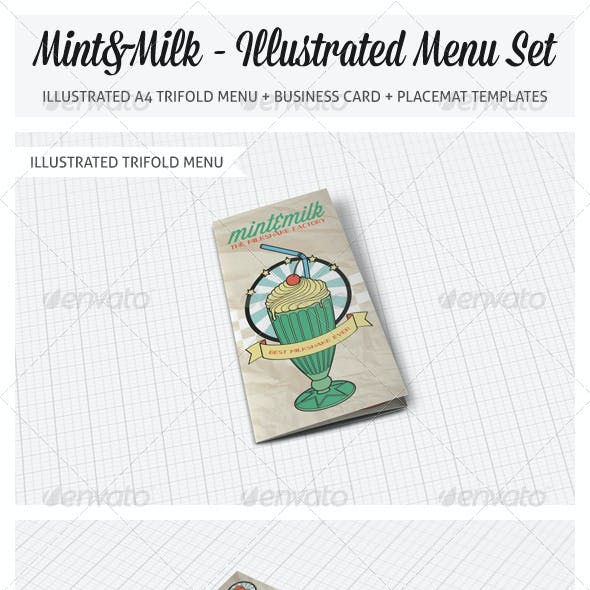 Illustrated Trifold Menu Set