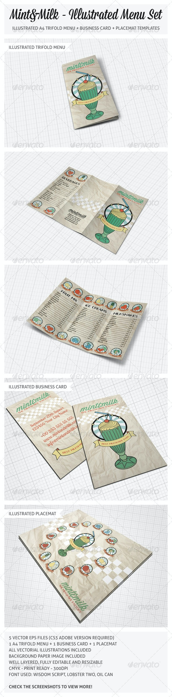 Illustrated Trifold Menu Set  - Food Menus Print Templates