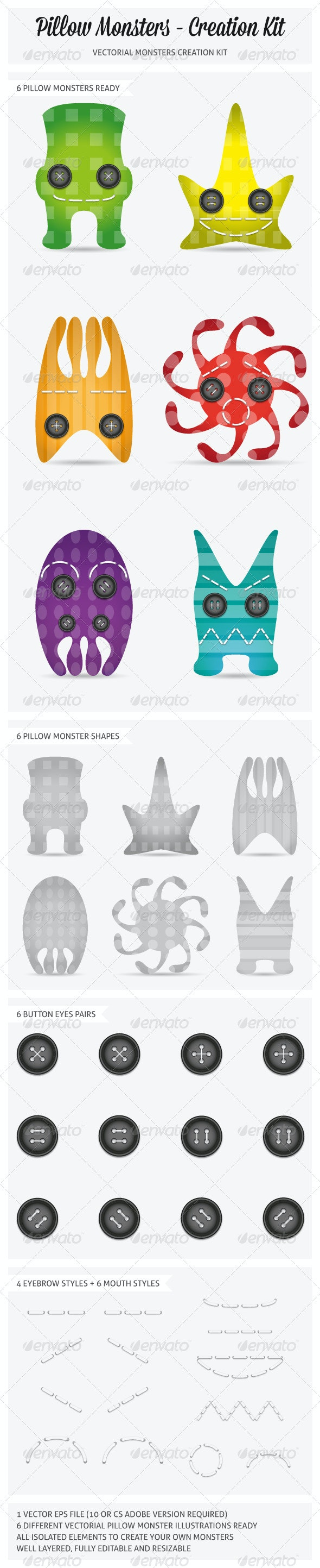 Button-Eyed Pillow Monsters Creation Kit - Monsters Characters