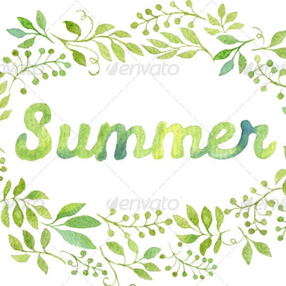 Watercolor Foliage Wreath with the word Summer