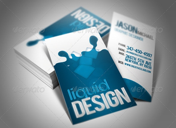 Liquid Card Business Card  - Business Cards Print Templates