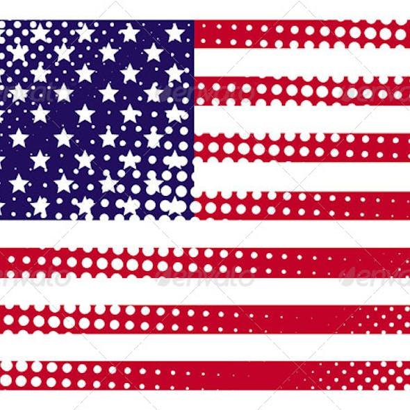 American Grunge Halftone Flag