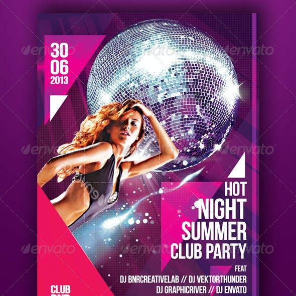 Hot Night Summer Club Party Flyer