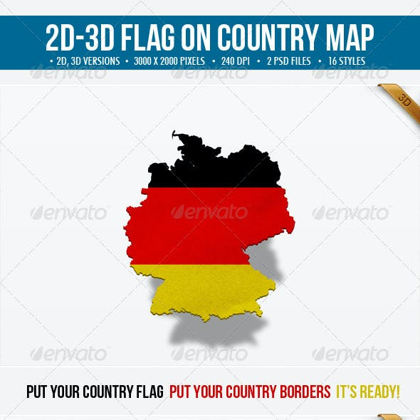 2D & 3D Flag on Country Map