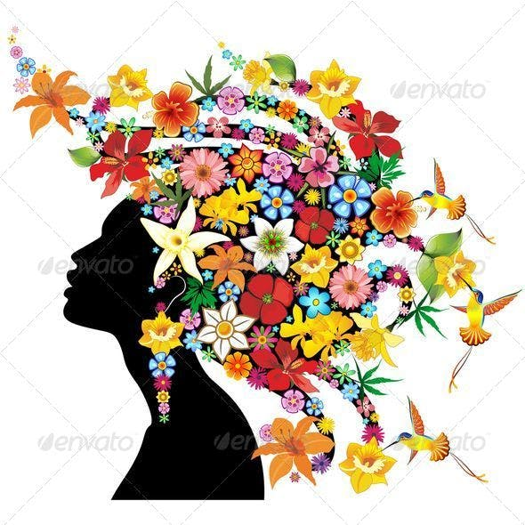 Girl Exotic Portrait with Flowers on Hair