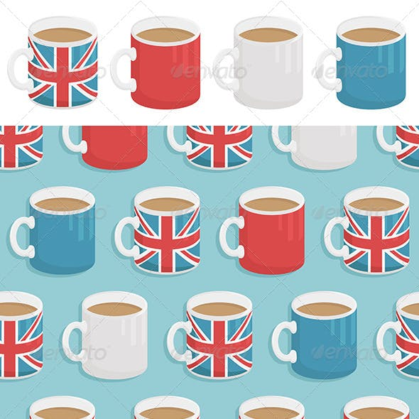 UK Mugs Seamless Pattern