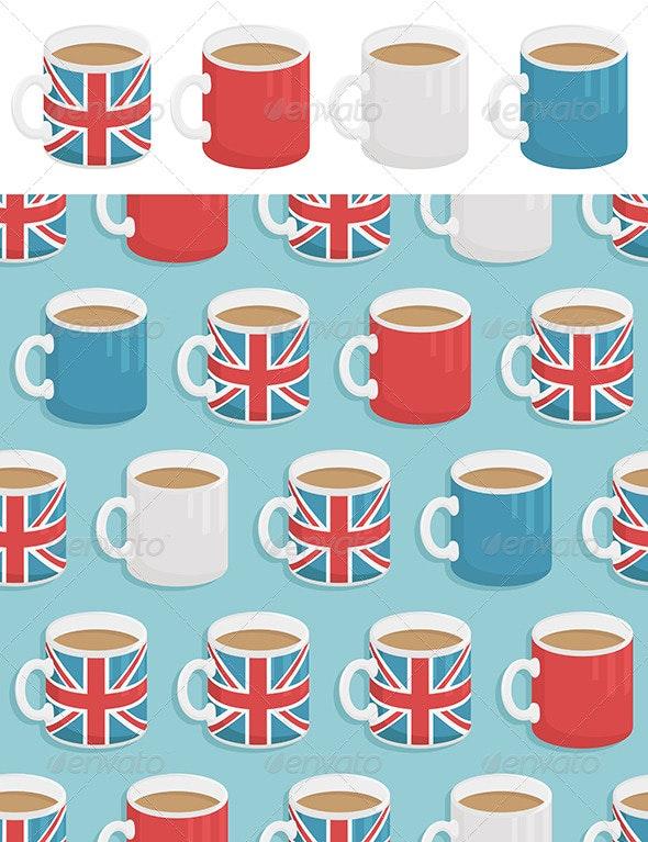 UK Mugs Seamless Pattern - Patterns Decorative