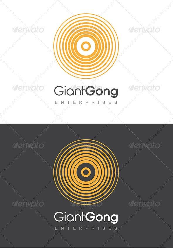 Giant Gong Logo Golden Yellow & Grey Template - Symbols Logo Templates