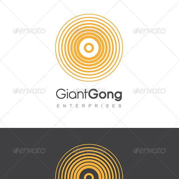 Giant Gong Logo Golden Yellow & Grey Template