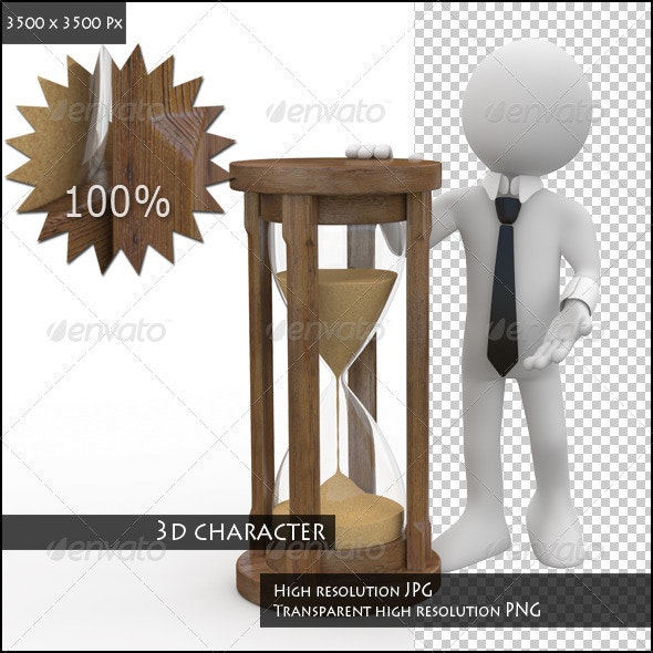 Man Leaning on an Hourglass - 3D Backgrounds