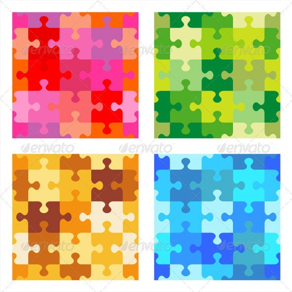 Seamless Jigsaw Puzzle Patterns - Abstract Conceptual