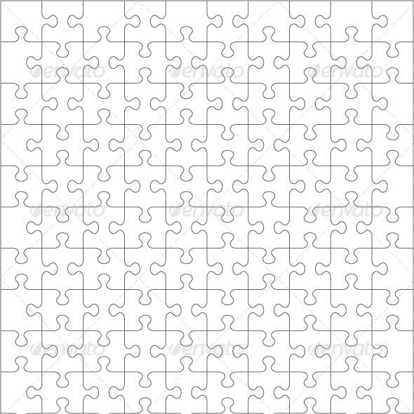 Jigsaw Puzzle Blank Template of 130 Pieces