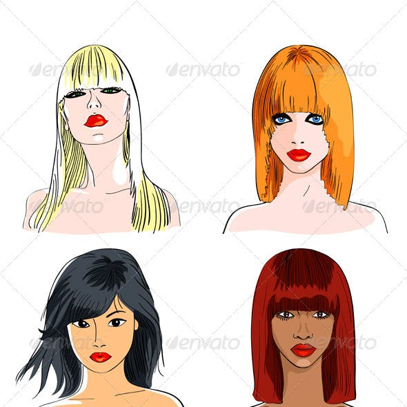 Vector set blond and foxy caucasian, asian and afr