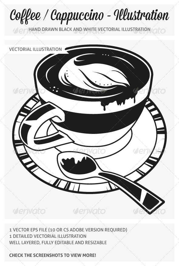 Hand Drawn Coffee/Cappuccino Illustration - Food Objects
