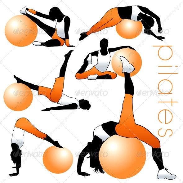 Pilates Silhouettes Set - Sports/Activity Conceptual