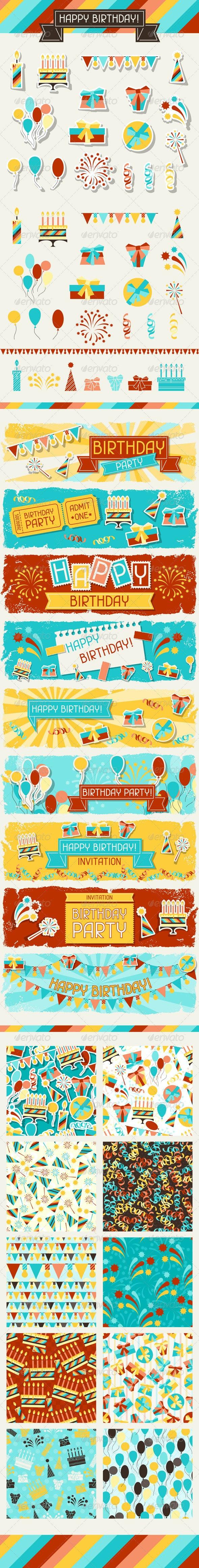 Happy Birthday Icons, Banners and Patterns - Birthdays Seasons/Holidays