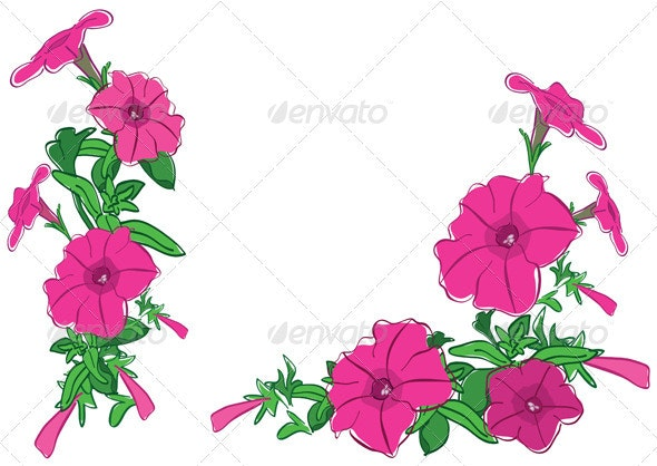 Bouquets of red flowers - vector illustration - Flowers & Plants Nature