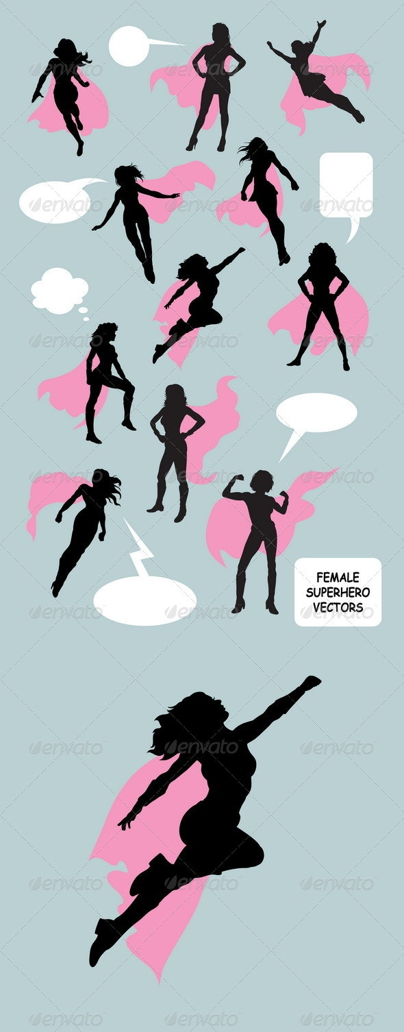 Female Superhero Silhouettes - People Characters