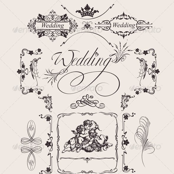 Design Ornate Elements And Wedding Page Decoration