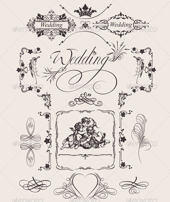 Design Ornate Elements And Wedding Page Decoration - Retro Technology