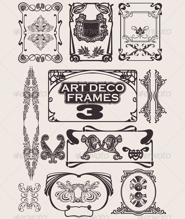 Set Of Art Deco Frames. - Retro Technology