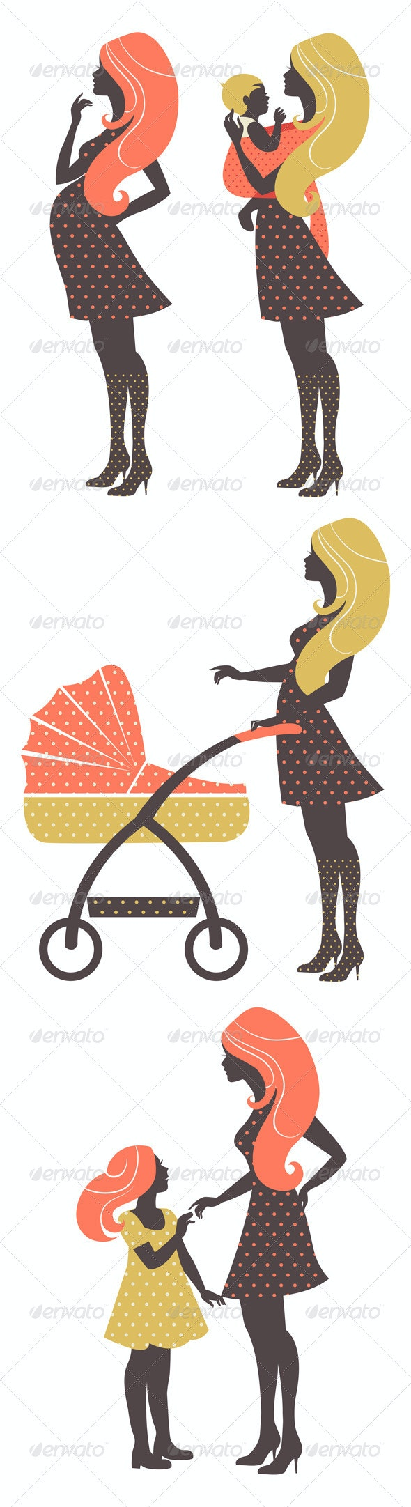 Vintage Set of Four Mother Silhouettes - People Characters