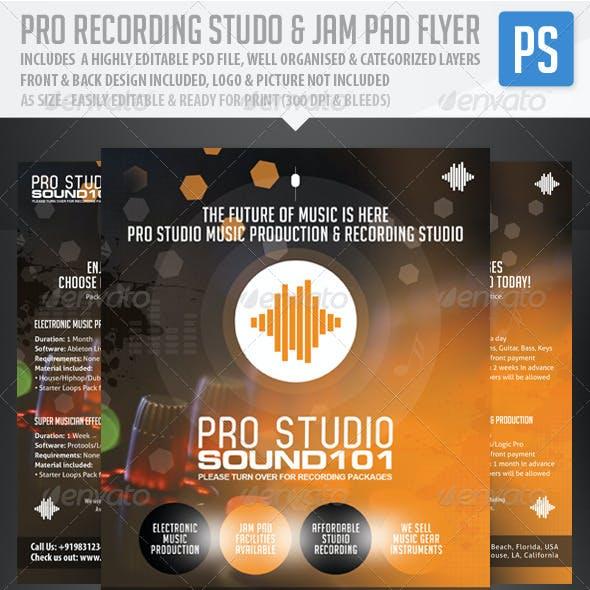 Pro Recording Studio & Jam Pad Flyer