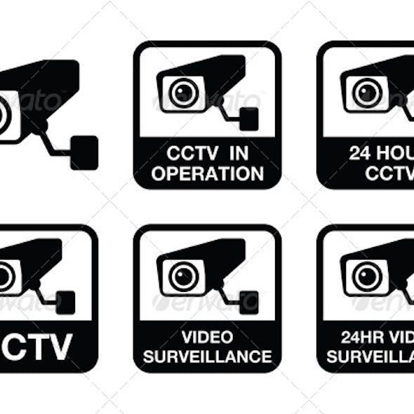 Video Surveillance Icons Set