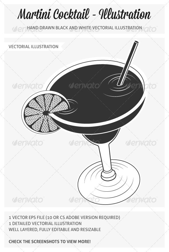Martini Cocktail Illustration - Food Objects