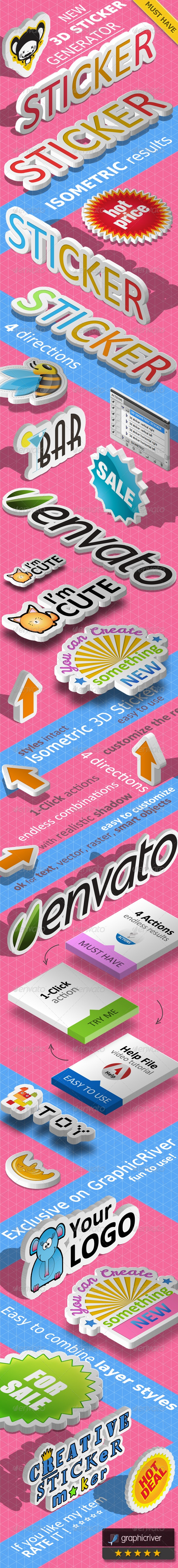 3D Isometric Sticker Photoshop Action - Actions Photoshop