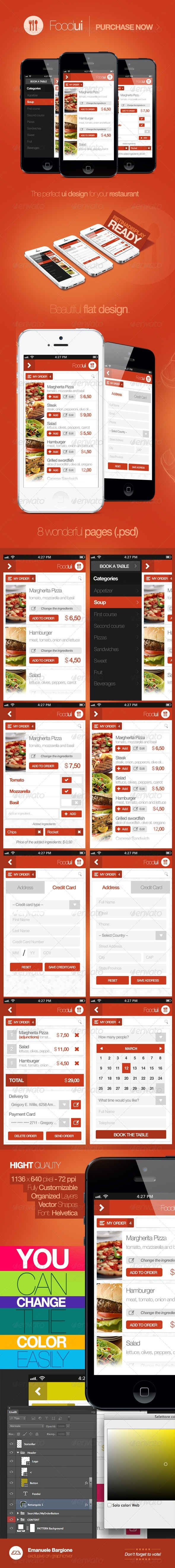 Food Ui - User Interface For Restaurant - User Interfaces Web Elements