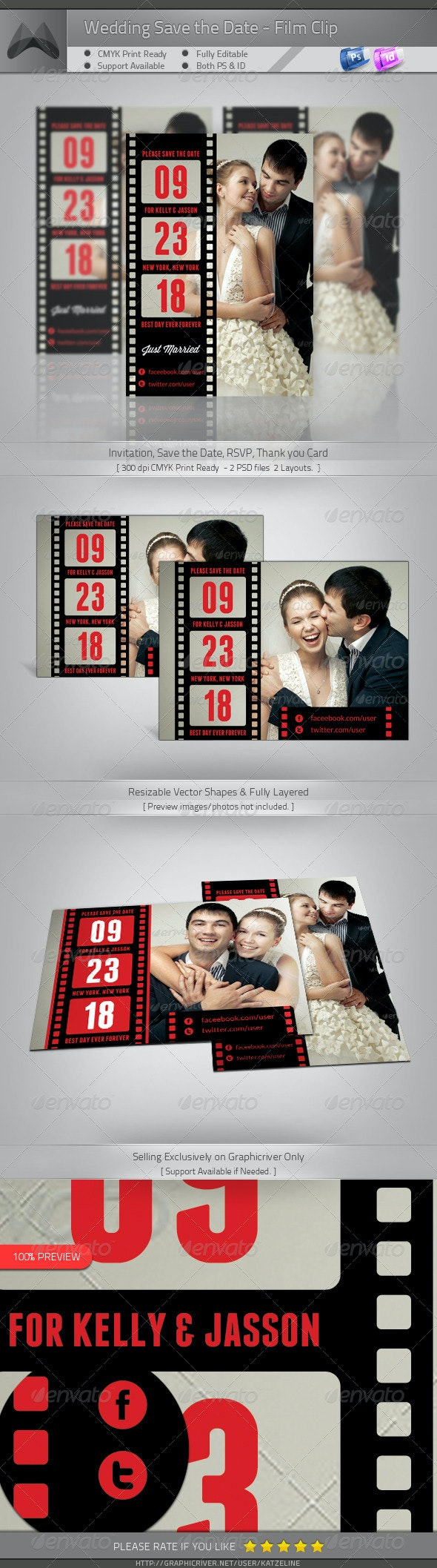 Love Film Clip II - Wedding Save the Date Template - Weddings Cards & Invites