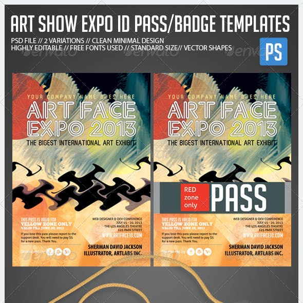 Art Expo, Art Show ID Pass/Badge Templates