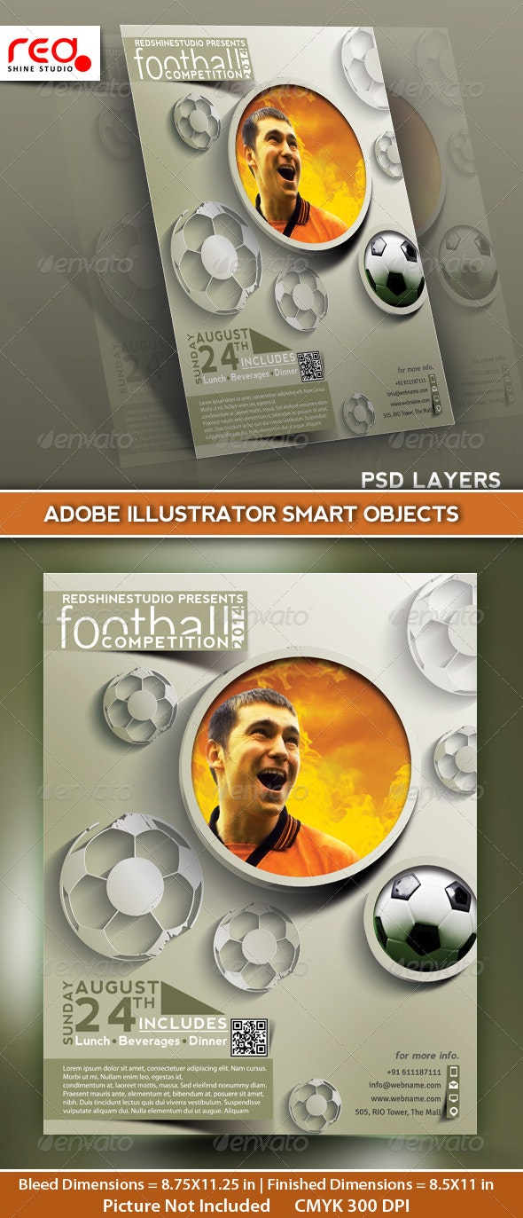 Football Competition Flyer Poster & Magzine Cover - Sports Events