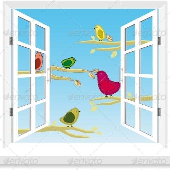 Birds in the Window Vector