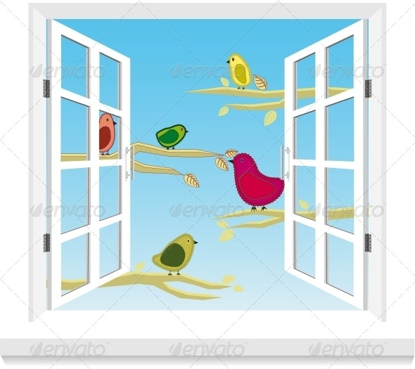 Birds in the Window Vector - Landscapes Nature