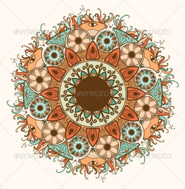 Ornamental round lace pattern.Delicate circle. - Backgrounds Decorative