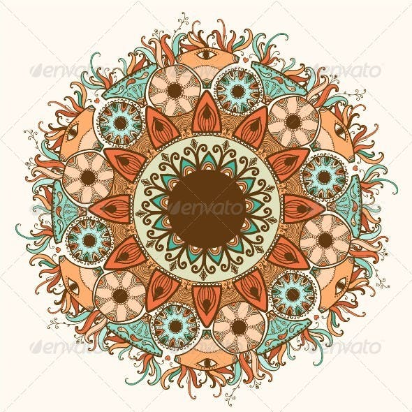 Ornamental round lace pattern.Delicate circle.
