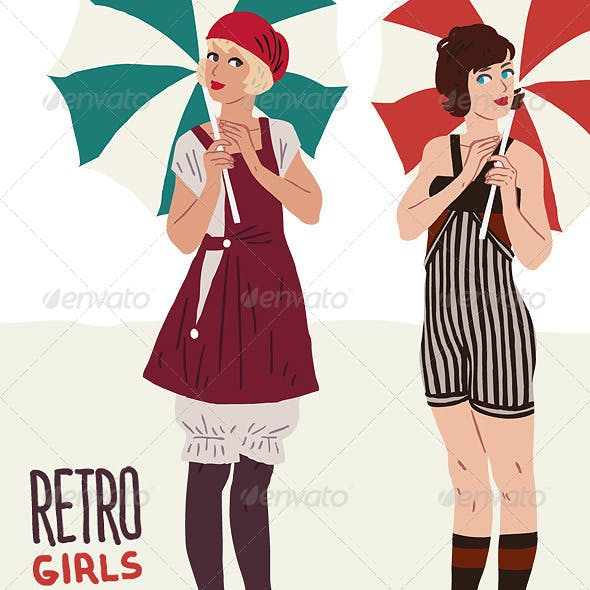 Flapper Girls: Retro Beach Character in 20's Style