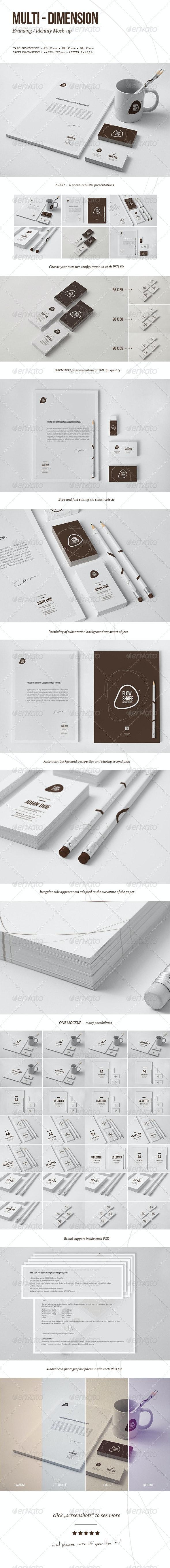 Multi-dimension Branding / Identity Mock-up 4 - Stationery Print