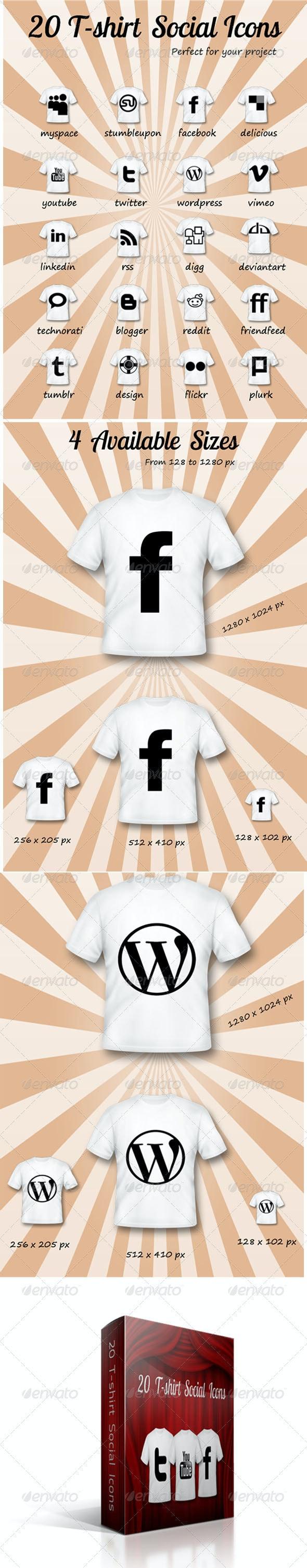 20 T-shirt Social Icons - Web Icons