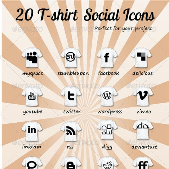 20 T-shirt Social Icons