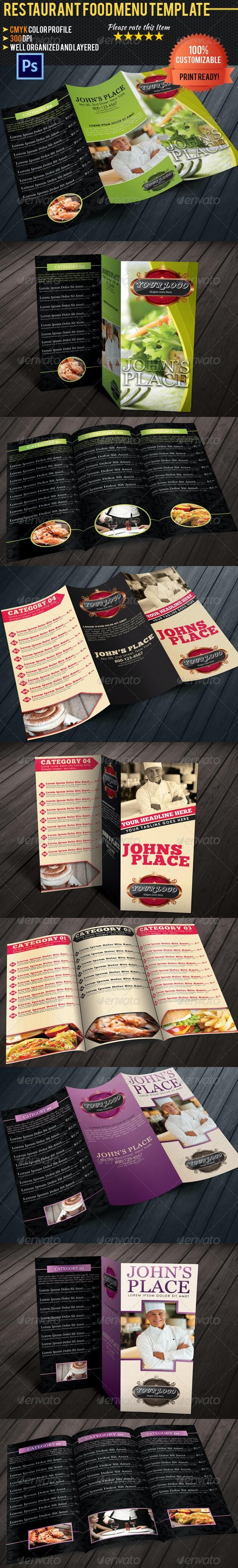 Tri-fold Restaurant Food Menu Template Bundle 02 - Food Menus Print Templates