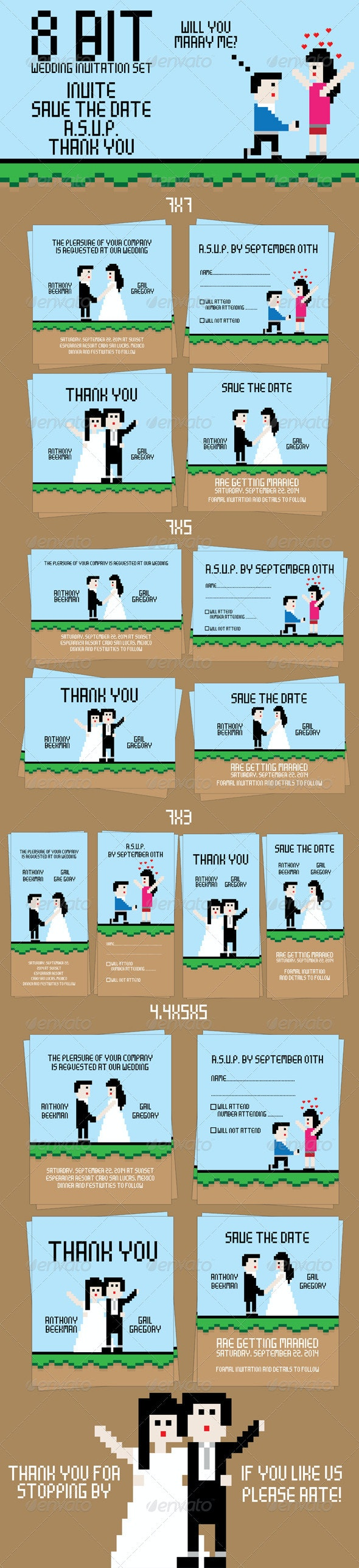 8 Bit Wedding Invitation Set - Weddings Cards & Invites