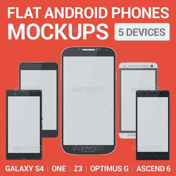 Android Phones Flat Mockups